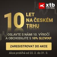 XTB slaví 10 let na českém trhu! Oslavte s námi toto výročí a obchodujte s 10% slevou